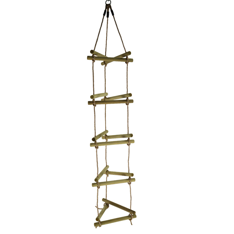 LK94S Swing Sturdy Wooden Outdoor Climbing Facility Wooden Triangular Braided Rope Ladder 3 Sides Outside Sport Ladder
