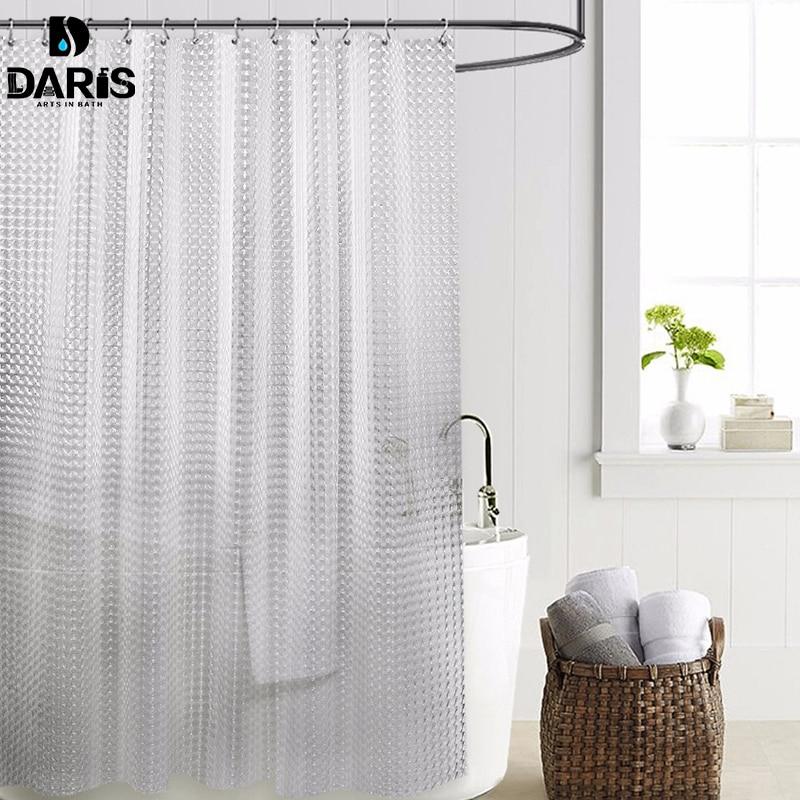SDARISB Kunststoff PEVA 3d Wasserdicht Dusch Vorhang Transparent Weiss Klar Bad Luxus Mit 12 Stucke Haken In