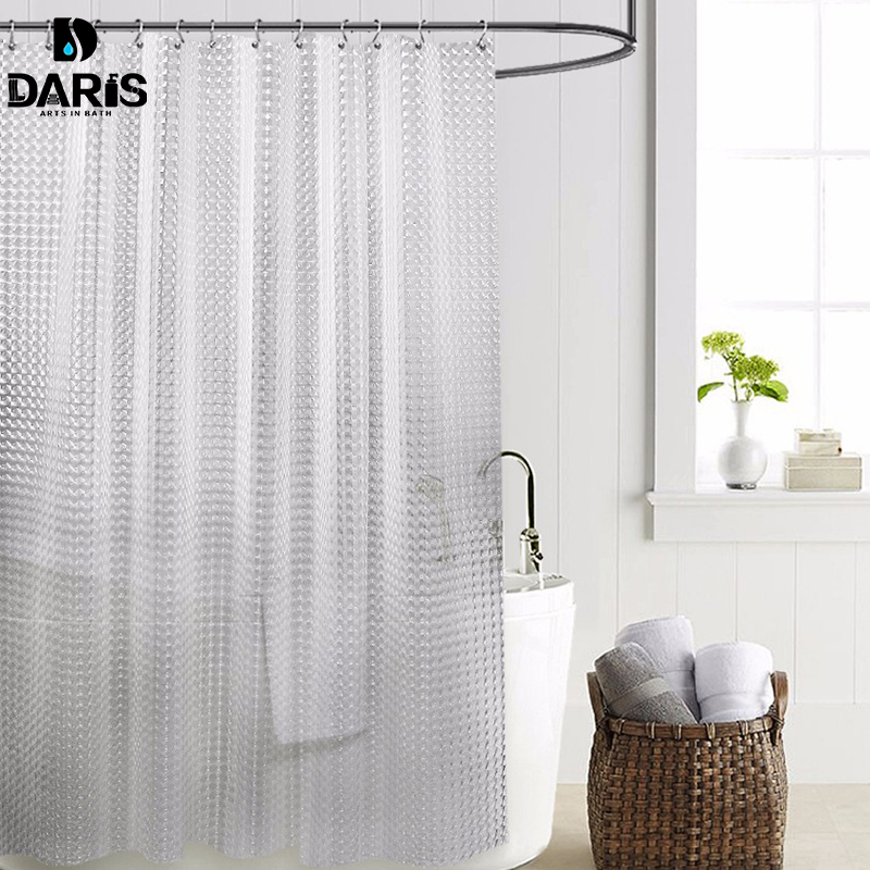 SDARISB Plastic PEVA 3d Waterproof Shower Curtain Transparent White Clear Bathroom Curtain Luxury Bath Curtain With 12pcs Hooks(China)
