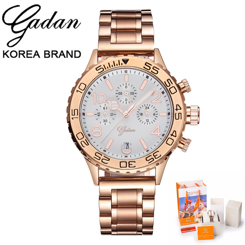 Brand YADAN 2017 Women Watches Quartz Wristwatches Ledies All Steel Three Shows Luminous Waterproof Outdoor Sports Steel Watch