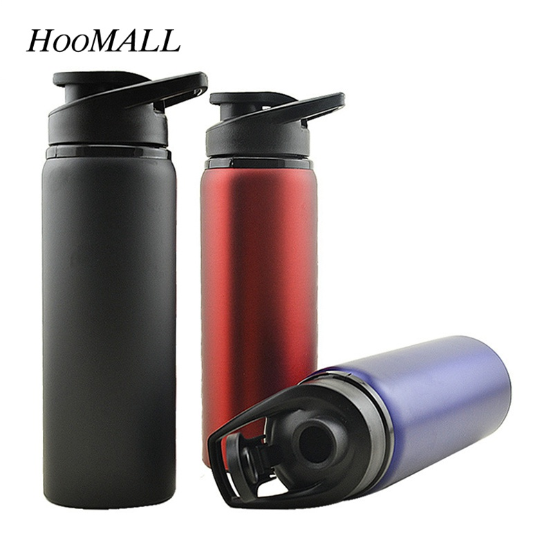 Hoomall 700ml Large Capacity Stainless Steel Sports Water Bottle for Outdoors Camping Cycling Leak-proof Bike Travel Bottle