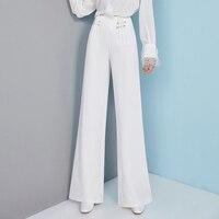 Модные белые высокая талия широкие брюки темперамент полный простой для женщин мотобрюки весна и осень товары