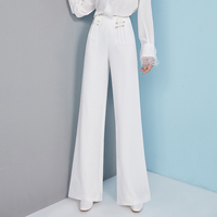 Fashion white high waist wide leg pants temperament full simple women's trousers spring and autumn new products