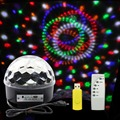 GoesWell Music Crystal Magic Ball RGB 6W*3 LED Stage Light Disco Nightclub Party Strobe Lights DJ Lighting with Remote