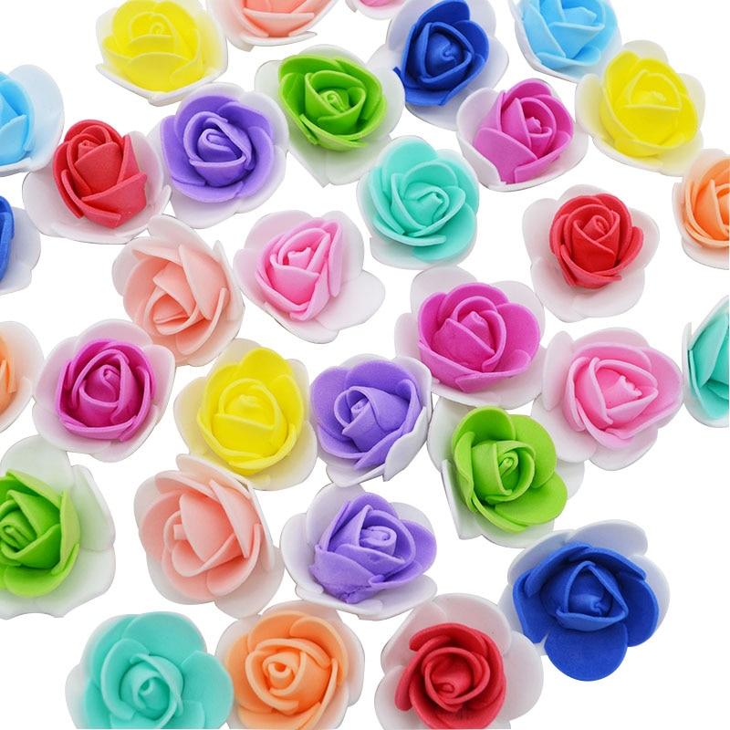 50 шт. 3,5 см пенополиэтилен цветы искусственные розы Глава DIY ВЕНОК ручной работы для Свадебная вечеринка украшения поддельные цветок дома декор
