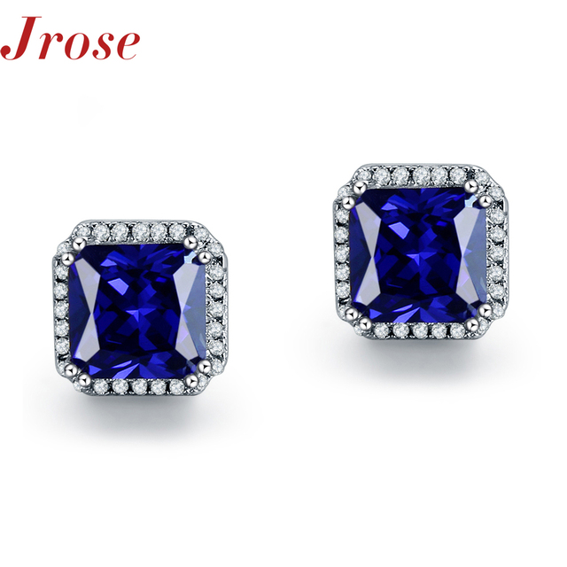 Jrose Wholesale Gift Square Blue Sapphire White CZ Diamond Real Pure Soild S925 Sterling Silver Fine Jewelry Nice Stud Earrings