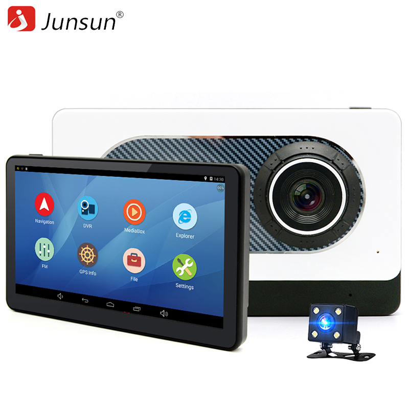 Junsun 7 inch Car Rear view GPS Navigation Android 4.4 with DVR Camera Recorder FM WIFI Sat nav Navigator Rear view camera