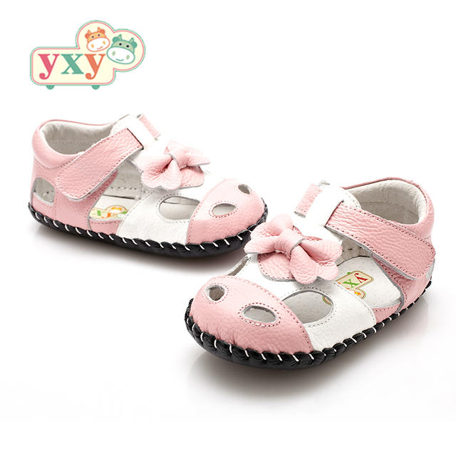 YXY Brand 2019 summer genuine leather Hollow BOW baby first walkers girls boys toddler hand-made Newborn sport shoes 3