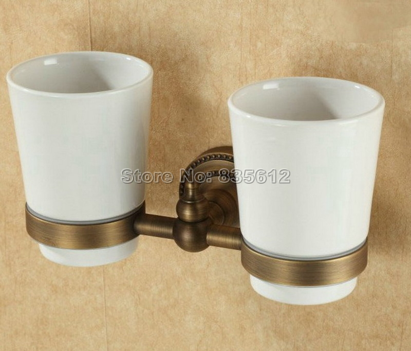 Antique Brass Wall Mounted Toothbrush Holder with Two Ceramic Cups Wba088a new bullet head bobbin holder with ceramic tube tip protecting lines brass copper material