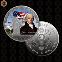 WR Creative Souvenir Gift Commemorative Silver Foil American 4th President James Madison Metal Coin Home Office Art Craft 40x3mm
