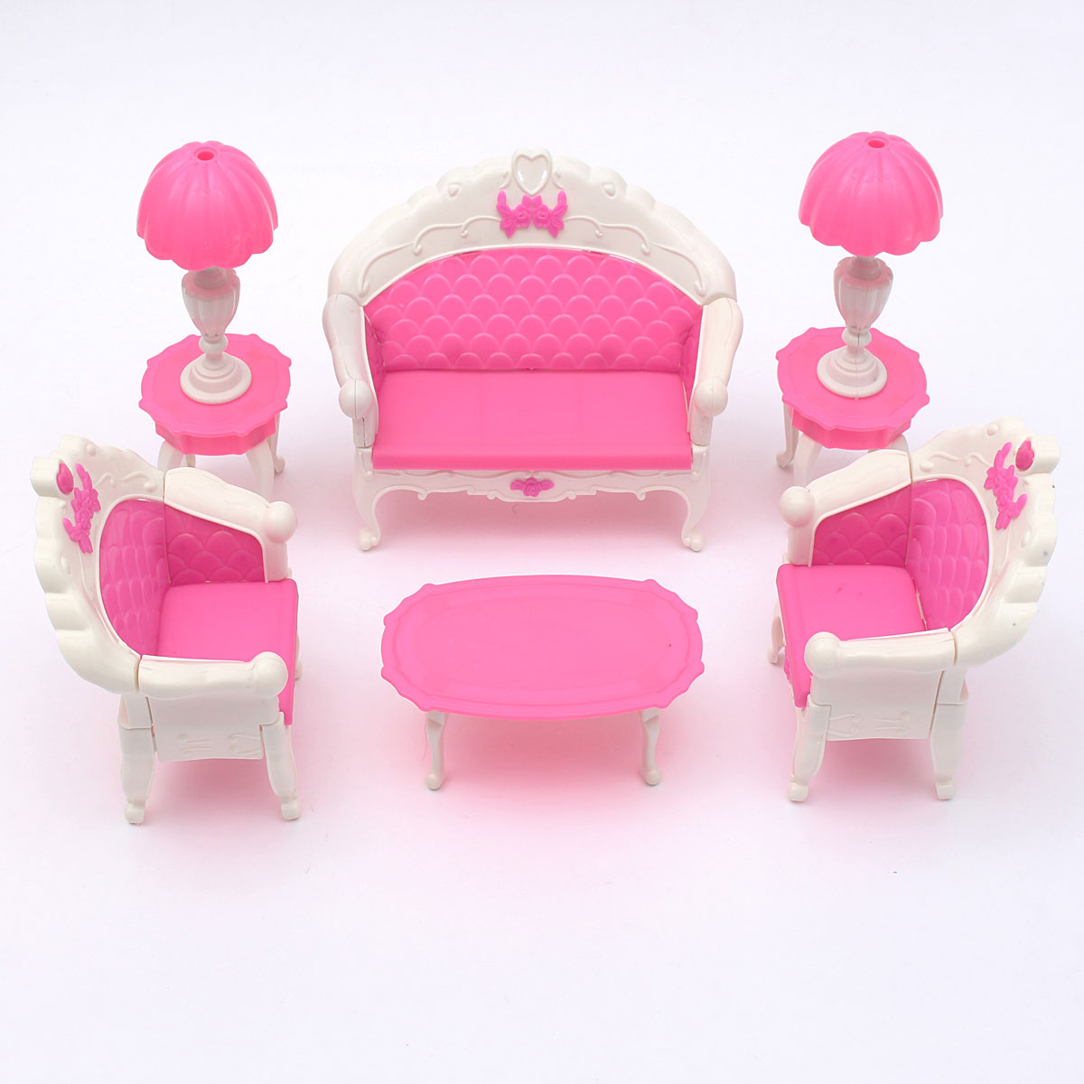 Pink dollhouse furniture living room parlour sofa set in dolls