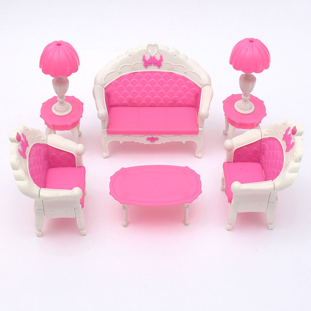 Pink Dollhouse Furniture Living Room Parlour Sofa Set-in Doll Houses ...