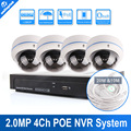 UNITOPTEK 4CH 2MP 1080P Dome IP Camera 4 Channel NVR System Support POE NVR Kit Home Video Surveillance Realtime Video Recording