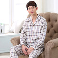 Autumn Mens Knitted Cotton Pajama Sets Full Sleeve Pyjamas Round Neck Sleepwear Casual Sleep Lounge Plaid Pyjamas men 037