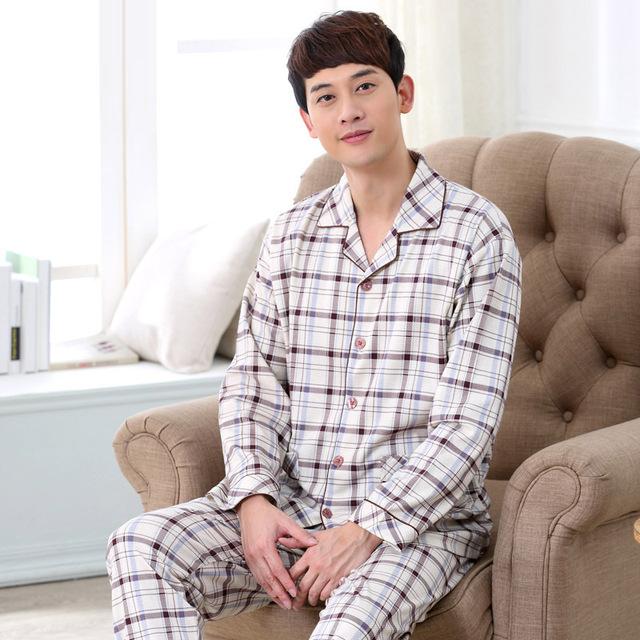 Otoño Para Hombre de Punto de Algodón Pijama Pijamas ropa de Dormir de Cuello Redondo de Manga Completa Plaid Pijamas Sueño Salón Informal hombres 037