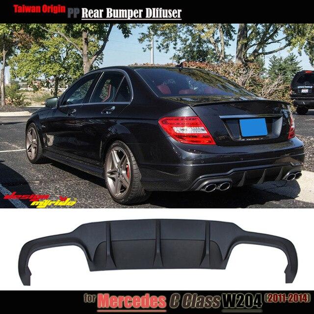 W204 rear bumper lip diffuser c63 style PP plastic for Mercedes Benz C180 C200 C250 C280 C300 C350 lip diffuser&C63 bumper 12 14
