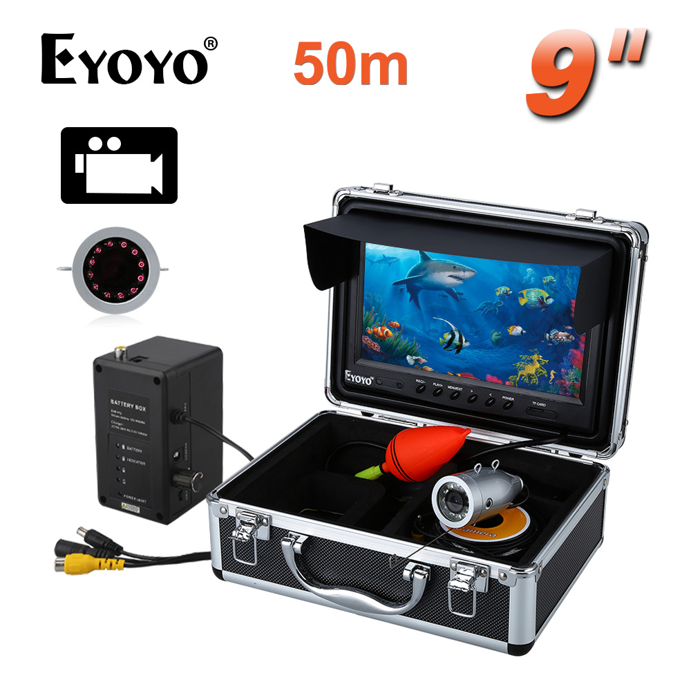 EYOYO 9 Video Fish Finders HD 1000TVL 50M Fishing Camera Full Silver Invisible Under Water Video Recording DVR 8GB Infrared LED 360 degree rotaton under water 50m dvr fishing camera av handheld endoscope