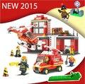 Nueva Original Sluban 371 unids/set de Bomberos de La Ciudad Modelo de Bloques de Construcción de Ladrillos DIY Juguetes Compatible con Lego city bombero