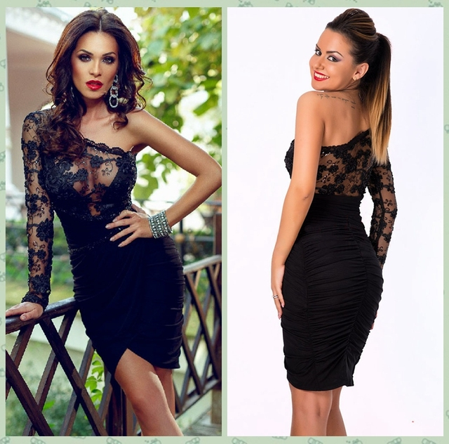 b6a049272da1 Black Lace One Sleeve Party Dress Women Sexy One Shoulder Pleated Mini Dress  Bodycon Cocktail Party Pencil Sheath Dress D22464