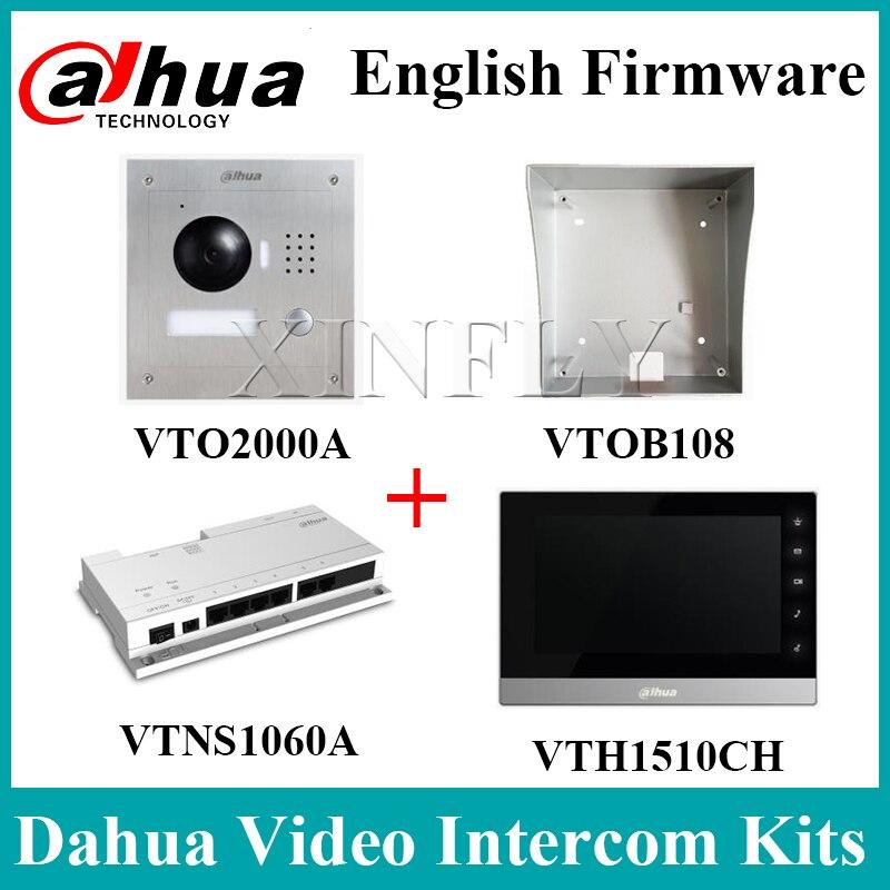 Dahua VTH1510CH IP Indoor Monitor VTOB108 Surface Mounted Box VTO2000A VTNS1060A Network Power Supply Dahua Videp Intercom Kits