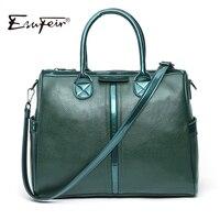 New Arrival 2017 ESUFEIR Brand Genuine Leather Women Handbag Embossed Soft Leather Shoulder Bag Vintage Solid