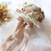 BRITNRY New Arrival Crystal Bridal Bouquet Satin Roses Bridesmaid Bouquet High Quality Pearls Bride Flower Bouquet
