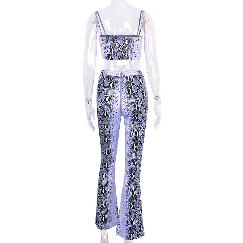 Purple Snake Skin Crop Top And Pants 2 Pieces Set 17