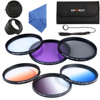 58mm UV CPL FLD Graduated Grey Green Orange Blue Filter Kits Flower Lens Hood For Canon