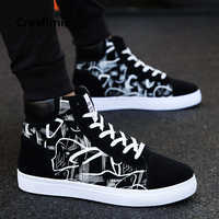 Male Fashion Spring & Autumn Pattern Printed Lace Up High Shoes Men Cool Comfortable Sneakers Man Black & White Shoes E2098