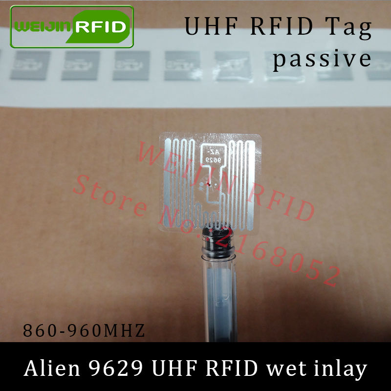 UHF RFID tag sticker Alien 9629 wet inlay 915mhz 900 868mhz 860-960MHZ Higgs3 EPCC1G2 6C smart adhesive passive RFID tags label rfid tire patch tag label long range surface adhesive paste rubber alien h3 uhf tire tag for vehicle access control