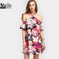 SheIn Random Florals Tie Detail A Line Dress Women Summer Dresses Multicolor Short Sleeve Halter Floral