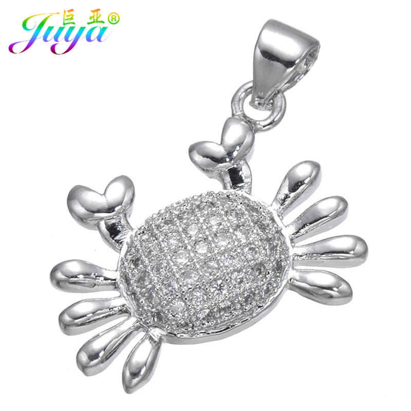 Wholesale Christmas Gift Jewelry Paved Cubic Zirconia Cute Crab Suspension Pendant Women Fashion Sweater Necklace DIY Making