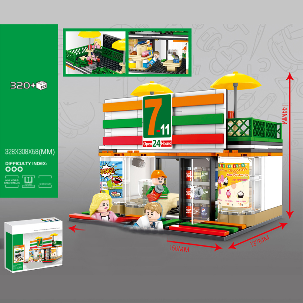 hot city mini Street view series 7 11 Convenient store moc Building Blocks model mini Seller figure brick toys for children gift in Blocks from Toys Hobbies