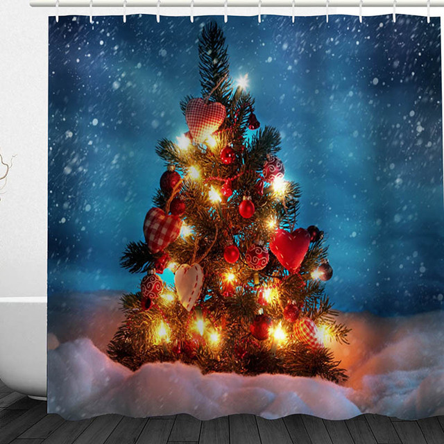 Christmas Tree Shower Curtain 180x180cm With 12 Plastic C Hook Designation Waterproof Bathroom Accessories