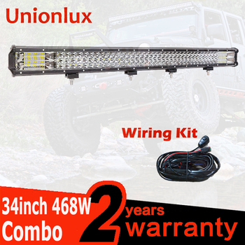 34INCH 468W LED Light Bar Wiring truck offroad 12V Car Led Work Light Lamp Off-road 4x4 SUV ATV Tractor Combo Beam