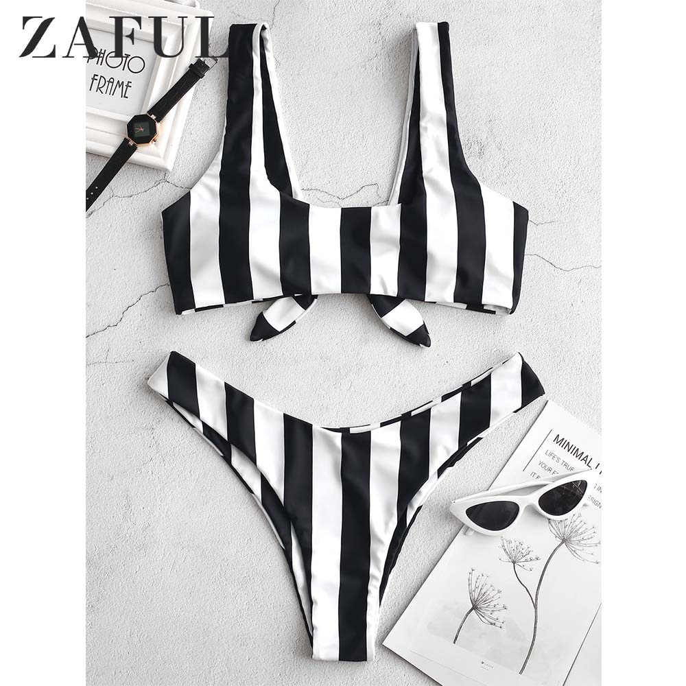 ZAFUL Knot Striped Bikini Set Women High Leg Waist Bikini U Neck Padded Swimsuit 2019 Summer Sexy Push Up Swimwear Bathing Suit