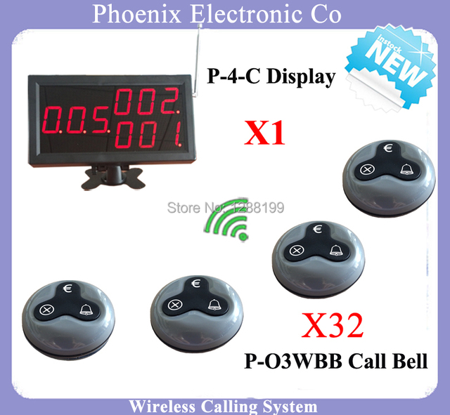Whole Set Of Restaurant System Including Wireless Waitress Calling Bell Button And Wireless Led Number Display