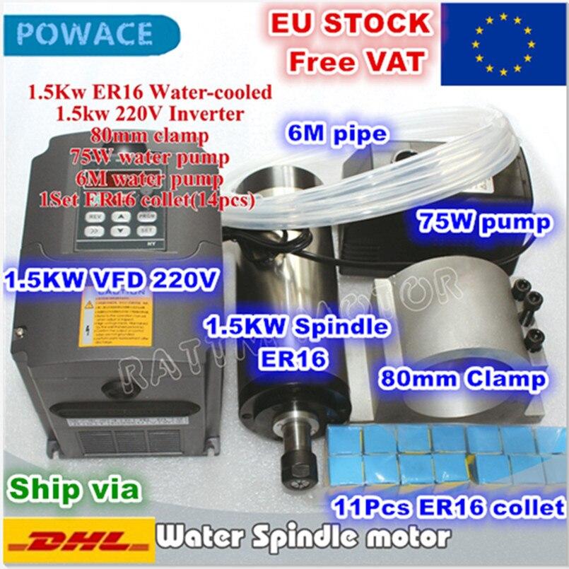 [Estoque UE] 1.5KW ER16 Eixo Refrigerar De Água Do Motor 220 V VFD Interver 4 Rolamento & 1.5KW & ER16 pinça & 80 milímetros Braçadeira & 75 W Bomba De Água