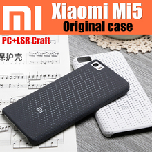 Original Xiaomi Official Black Gray PC+LSR Craft Anti-knock Back Cover Case For Xiaomi Mi5 Smart Phone