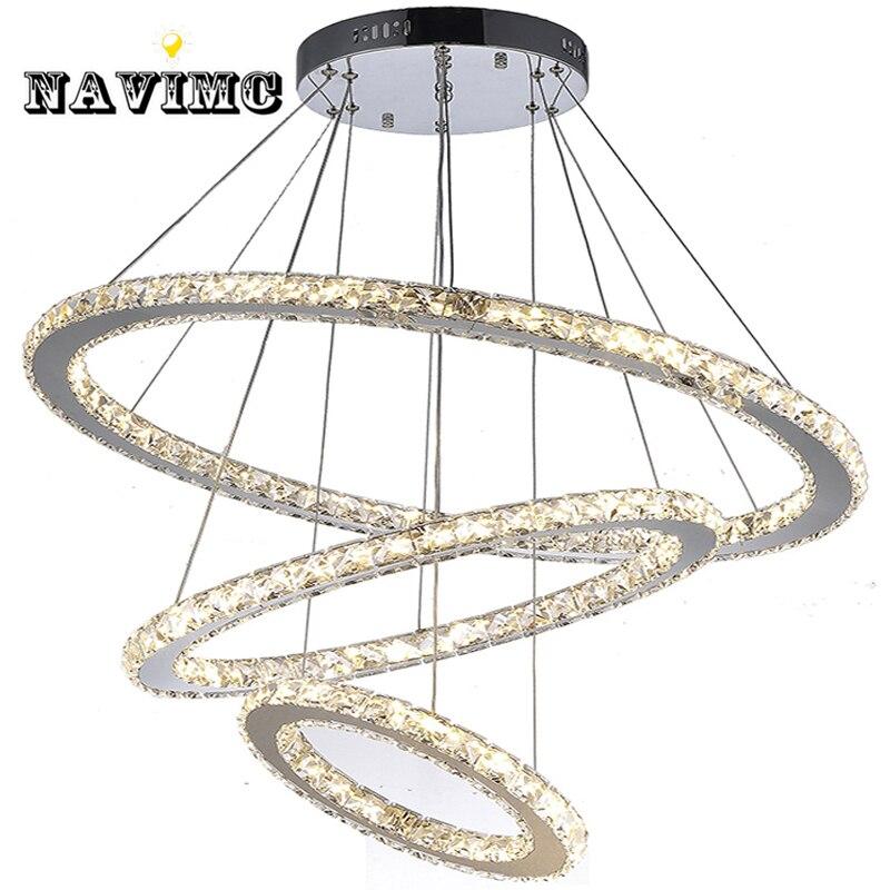 Controle remoto LEVOU K9 Luminária lustre de Cristal para Sala De Jantar Sala de estar Do Hotel com 4 Anéis CE UL FCC DIODO EMISSOR de luz