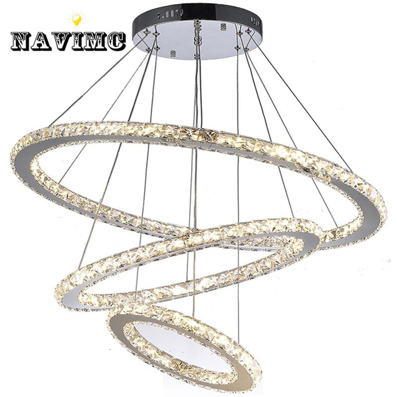 Télécommande LED K9 cristal lustre suspension lampe pour salle à manger salon hôtel avec 4 anneaux CE UL FCC LED