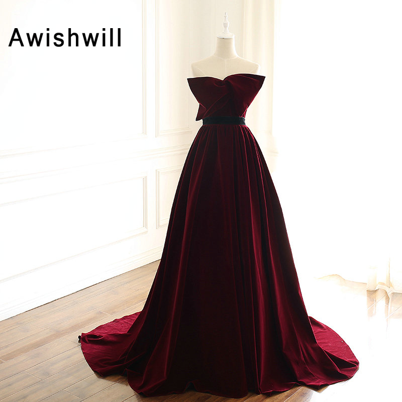 Ynqnfs E40 Vestido De Festa Bling Sequin High Neck Long Sleeve High Slit Two Piece Burgundy Velvet Evening Dress 2019 Weddings & Events