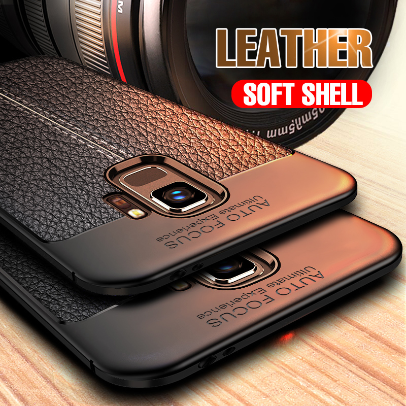 Luxury Soft Leather Case On The For Samsung S8 S9 PLus Note 8 9 Silicone Phone Cover For Samsung S8 S9 S7 Edge Protective Case(China)