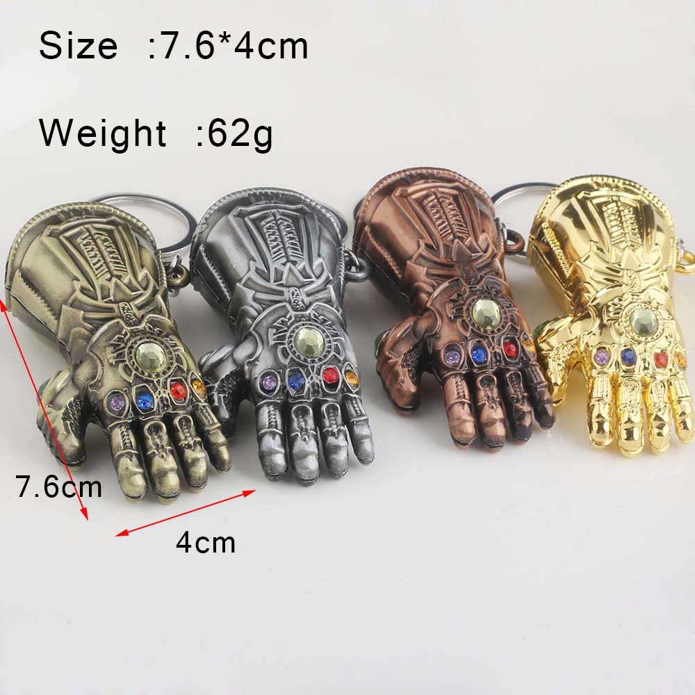 Image 2 - RJ Hot Sale 10Pcs/Lot Avengers 3 Thanos Series Mask Infinite Power Gauntlet Keychains Thor Hammer Men Boys Alloy Keyring Gift-in Key Chains from Jewelry & Accessories