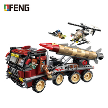 купить Military truck war base building blocks Helicopter Car Vehicle Weapon figure bricks Compatible With toys children gift дешево