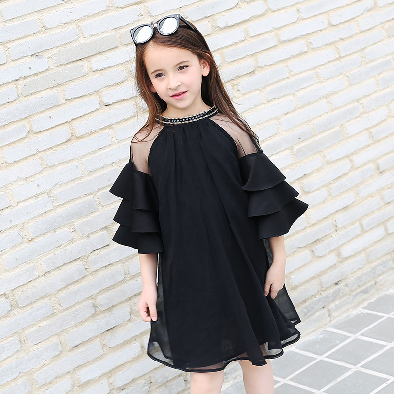 цена на Summer Teen Girls Dress Fashion Flare Sleeve Black Color Chiffon Dress for Teenage girl Kids Dress 120cm-165cm