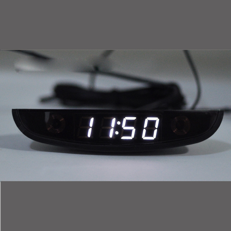 LED Automotive Car Electronic Clocks WatchesThermometer Voltmeter Luminous Digital Clock white dual  temperature reverse display free shipping 10pcs 100% new pico