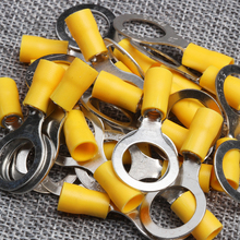 цена на 25Pcs Insulated Connector Crimp Terminals RV5-13 Yellow PVC Sleeve Copper Insulated Ring Tongue Terminals Connectors