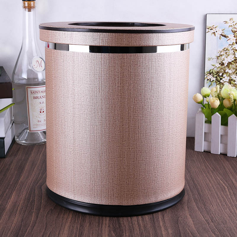 Europe modern Champagne color metal rubbish bins kitchen waste basket Double layer trash bin trash can for home decor PLJT17|Waste Bins| |  - title=