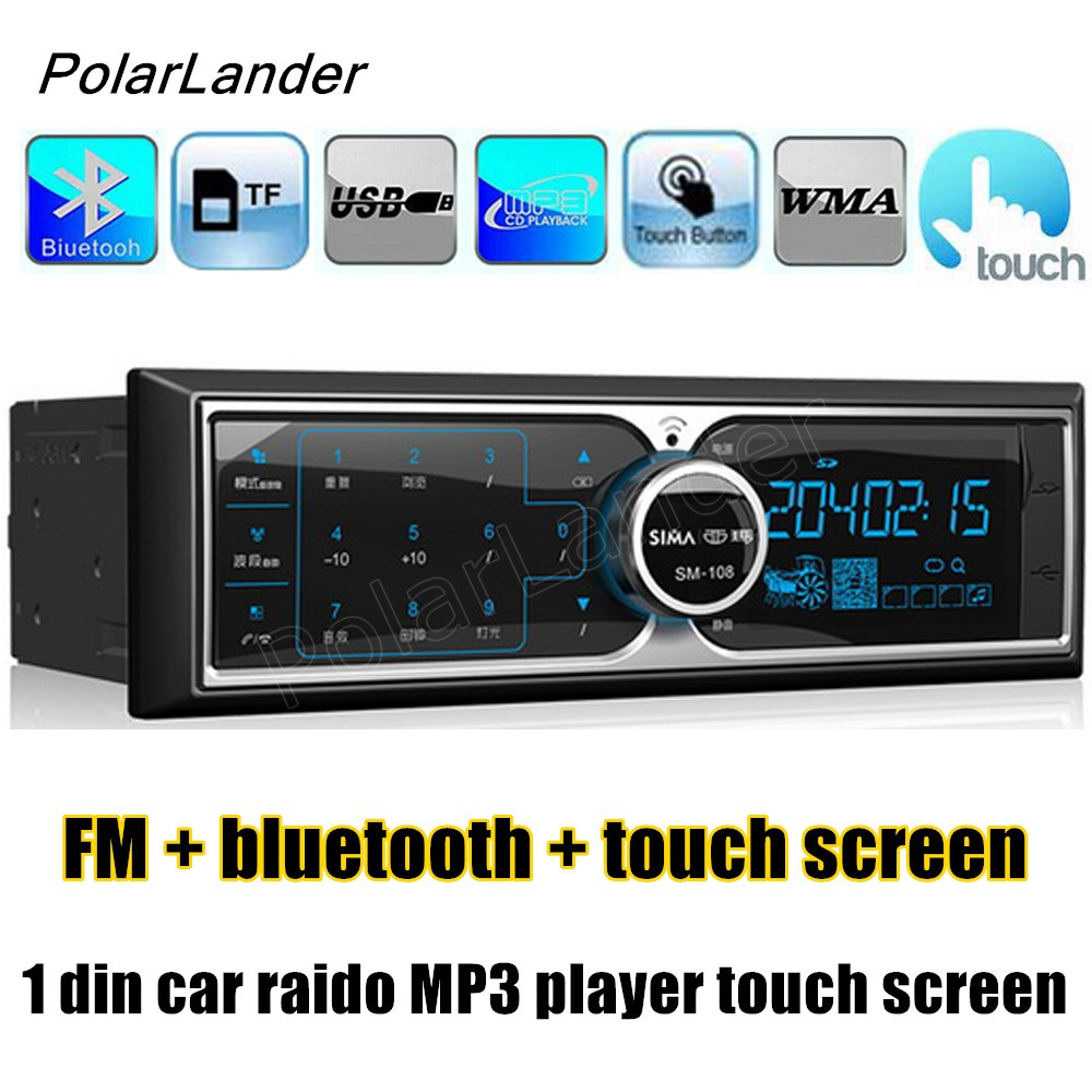 PolarLander ISO port 1 Din 12V  Bluetooth Auto Radio Car Stereo MP3 Player FM TF USB Hands-free Call touch screen rs 1010bt car bluetooth hands free stereo mp3 player